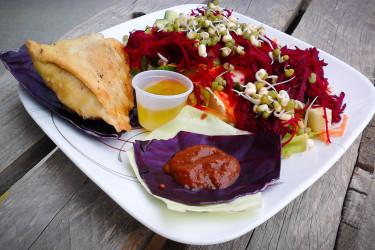 Indian Vegetable Salad & Samosa